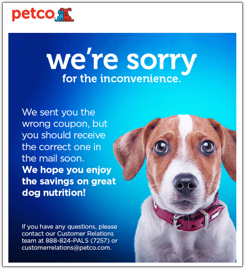 Petco apology email