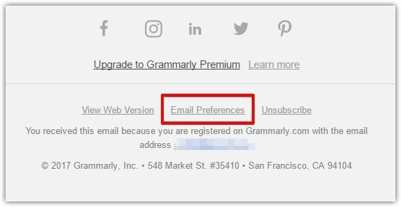 Grammarly email preferences