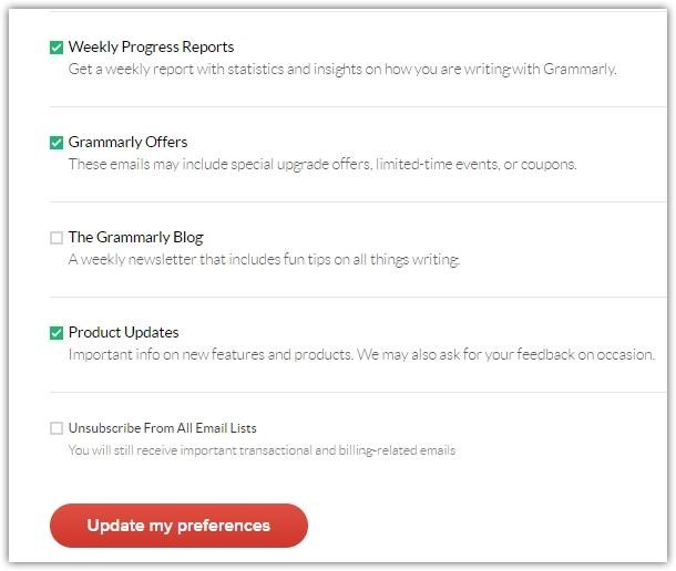 Grammarly Update Preferences