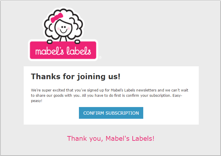 marbles labes thank you email